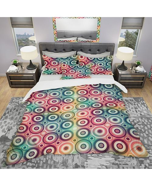 Design Art Designart 'Psychedelic Color Circle Pattern' Modern and Contemporary Duvet Cover Set - Queen