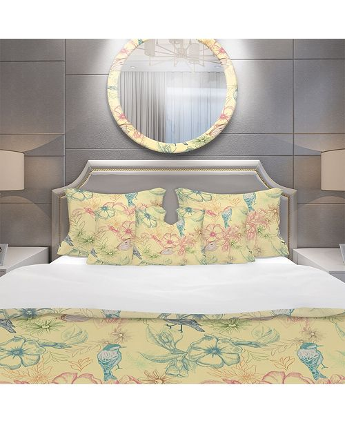 Design Art Designart 'Spring Pattern With Butterflies On Flowers' Modern and Contemporary Duvet Cover Set - Queen