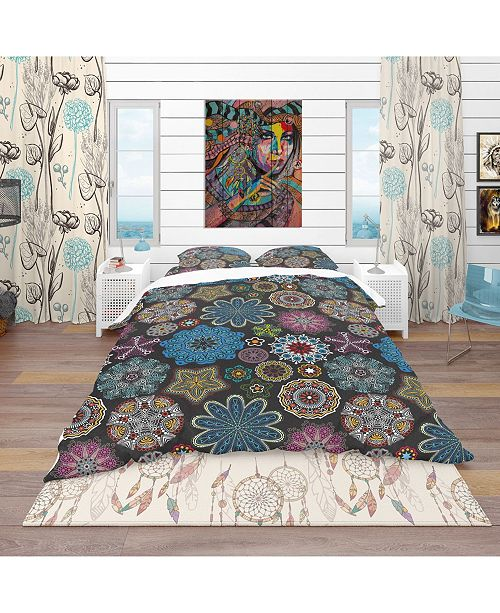 Design Art Designart 'Ornate Floral Texture' Bohemian and Eclectic Duvet Cover Set - Queen