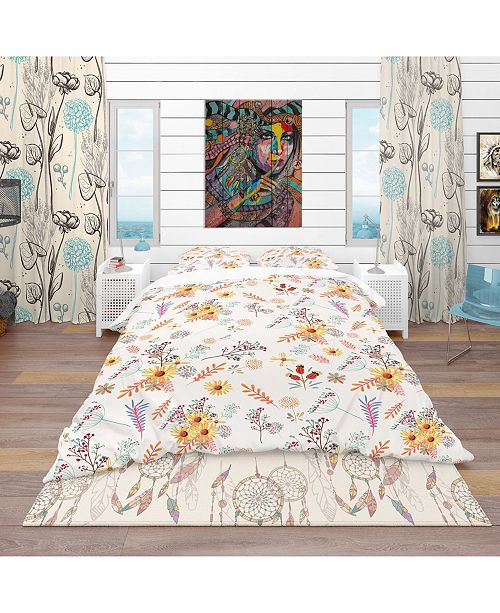 Design Art Designart 'Floral Pretty Pattern With Colorful Pastel Flowers' Bohemian and Eclectic Duvet Cover Set - Queen