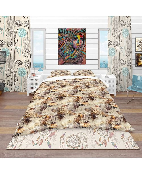 Design Art Designart 'Leaves And Spots Pattern' Modern and Contemporary Duvet Cover Set - Queen