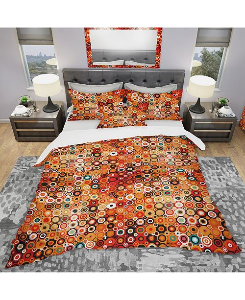 Design Art Designart 'Disco Style Pattern With Dots and Circles' Modern and Contemporary Duvet Cover Set - Queen