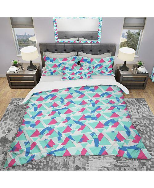 Design Art Designart 'Geometric Pattern' Modern Duvet Cover Set - Queen