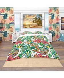 Designart 'Colorful Tropical Pattern' Tropical Duvet Cover Set - Twin