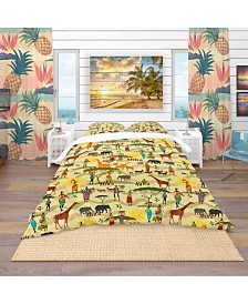 Designart 'Ethnic African Texture' Tropical Duvet Cover Set - Twin