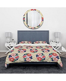 Designart 'Japanese Floral Pattern' Oriental Duvet Cover Set - Queen