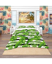 Designart 'Pattern With Tropical Palm Leaves' Tropical Duvet Cover Set - King