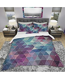 Designart 'Abstract Colorful Triangles' Modern Duvet Cover Set - King