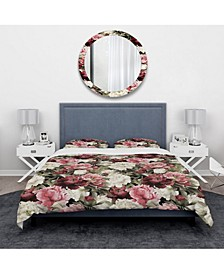 Designart 'Floral Pattern With Peonies' Bohemian and Eclectic Duvet Cover Set - Twin