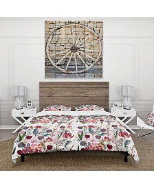 Designart 'Beautiful Floral Pattern With Spring Flowers' Cabin and Lodge Duvet Cover Set - Queen
