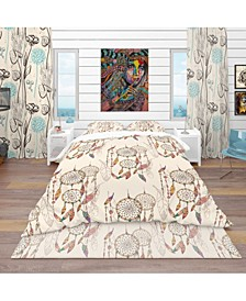 Designart 'Bohemian Dream Catcher With Beads and Feathers' Southwestern Duvet Cover Set - Twin