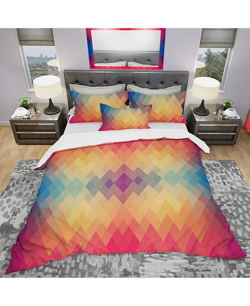 Design Art Designart 'Colorful Geometric Pattern' Modern Duvet Cover Set - Queen