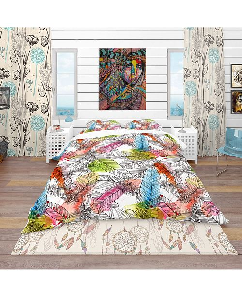Design Art Designart 'Pattern With Hand Drawn Feathers' Southwestern Duvet Cover Set - Twin