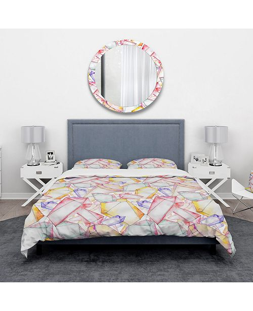 Design Art Designart 'Colorful Diamond Rock Jewelry Mineral' Modern and Contemporary Duvet Cover Set - Twin