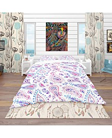 Designart 'Pink Purple Paisly' Bohemian and Eclectic Duvet Cover Set - Queen