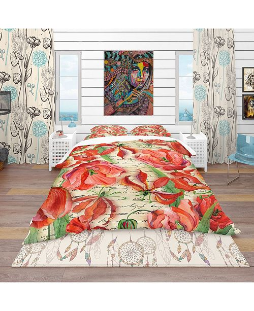 Design Art Designart 'Red Flower Pattern' Vintage Duvet Cover Set - Twin