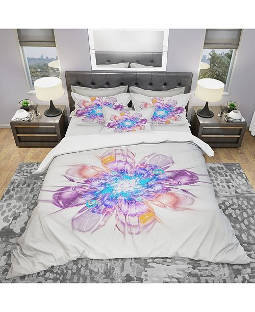 Design Art Designart 'Perfect Fractal Flower In Multi Colors' Modern and Contemporary Duvet Cover Set - King
