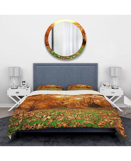 Design Art Designart 'Beautiful Autumn With Green Grass' Vintage Duvet Cover Set - Queen