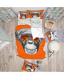 Designart 'Monkey With Mirror Sunglasses' Tropical Duvet Cover Set - Queen