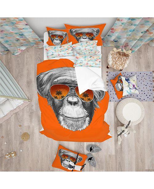 Design Art Designart 'Monkey With Mirror Sunglasses' Tropical Duvet Cover Set - Queen