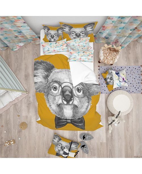 Design Art Designart 'Koala With Glasses And Bow Tie' Modern and Contemporary Duvet Cover Set - Twin