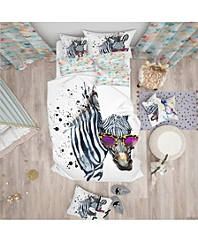 Designart 'Funny Zebra Watercolor' Modern and Contemporary Duvet Cover Set - Twin