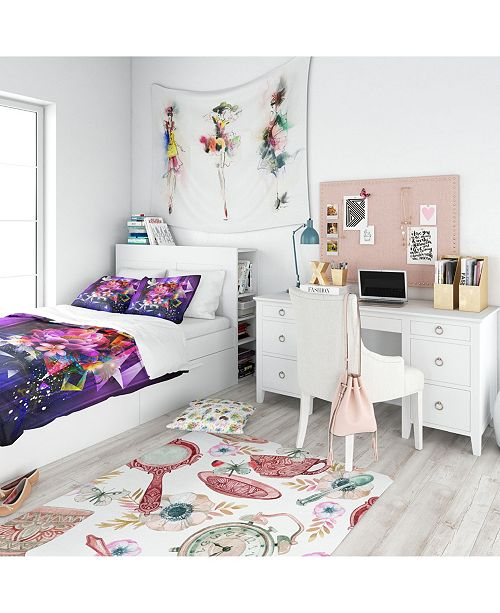 Design Art Designart 'Abstract Floral Design With Dove' Modern and Contemporary Duvet Cover Set - Queen