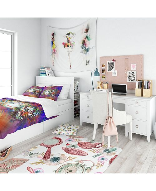 Design Art Designart 'Colorful Tiger And Woman Face' Modern Teen Duvet Cover Set - Queen