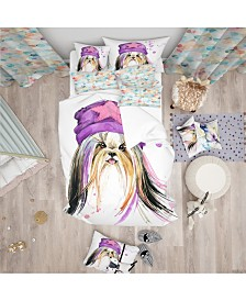 Designart 'Cute Dog With Starred Hat' Modern and Contemporary Duvet Cover Set - Queen