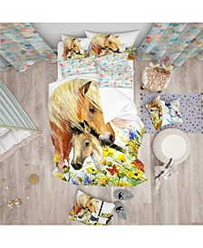 Designart 'Horse And Foal With Meadow' Modern Kids Duvet Cover Set - Twin