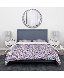 Designart 'Cascade Bouquet Royal Blue Purple and White Flowers' Traditional Duvet Cover Set - Twin
