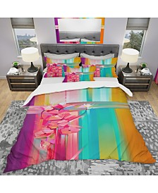 Designart 'Abstract Red Gerbera Spring Flower' Modern and Contemporary Duvet Cover Set - King