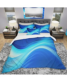 Designart 'Blue Hues Abstract' Modern and Contemporary Duvet Cover Set