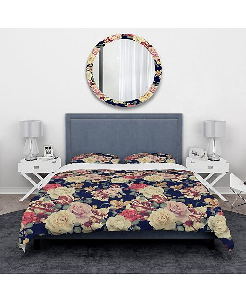 Design Art Designart 'Colorful Roses Floral Pattern' Bohemian and Eclectic Duvet Cover Set - King