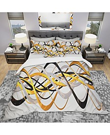 Designart 'Gold And Silver Helix' Modern and Contemporary Duvet Cover Set - Twin