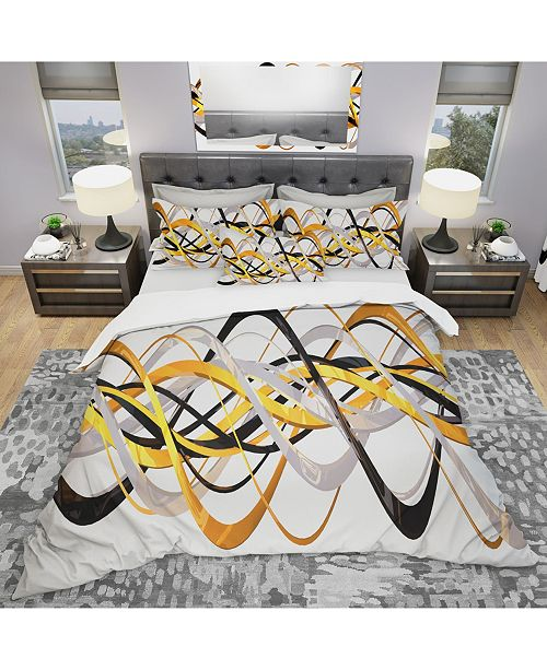 Design Art Designart 'Gold And Silver Helix' Modern and Contemporary Duvet Cover Set - Twin