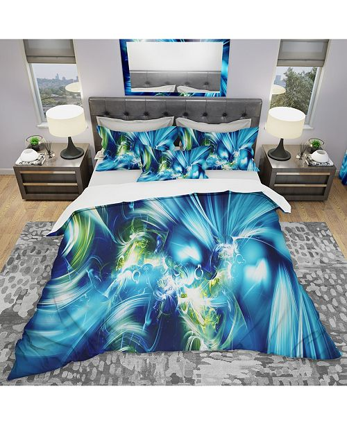 Design Art Designart 'Green And Blue Shine' Modern and Contemporary Duvet Cover Set - King