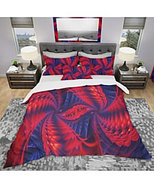 Designart 'Red And Purple Pinwheels' Modern and Contemporary Duvet Cover Set - King