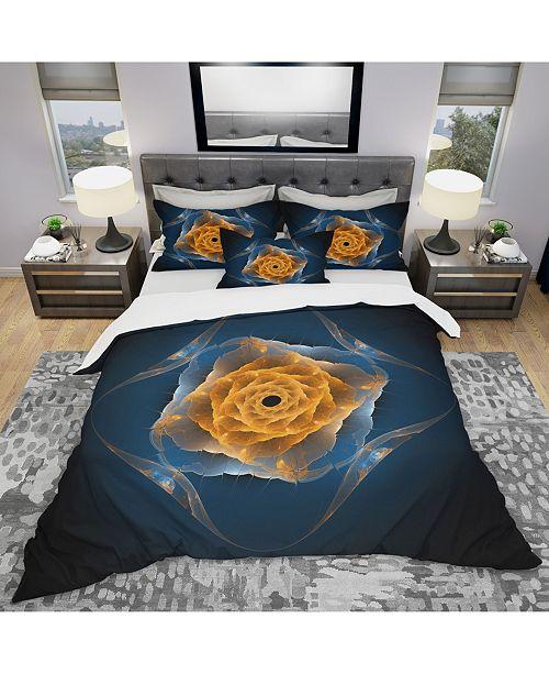 Design Art Designart 'Blue Nautilus Shell Pattern' Modern and Contemporary Duvet Cover Set - King