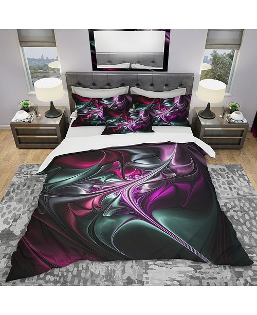 Design Art Designart 'Multicolored Abstract Floral Shapes' Traditional Duvet Cover Set - Twin