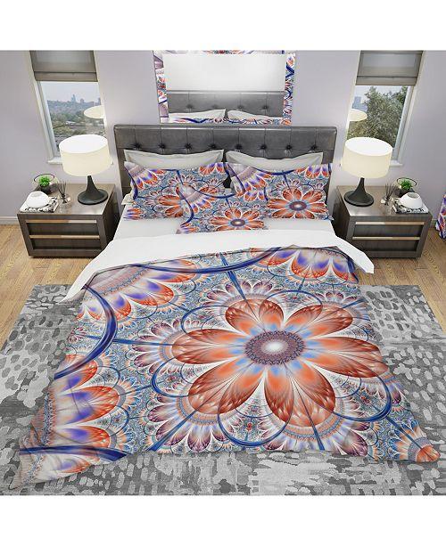 Design Art Designart 'Brown And Blue Large Fractal Flower' Modern and Contemporary Duvet Cover Set - King