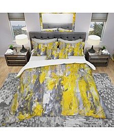 Designart 'Grey And Yellow Abstract Pattern' Modern and Contemporary Duvet Cover Set - King