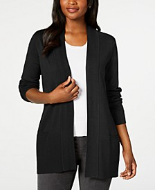 Petite Ribbed-Placket Cardigan Sweater, Created for Macy's