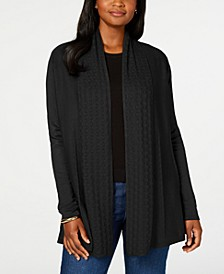 Petite Pointelle-Collar Cardigan, Created for Macy's