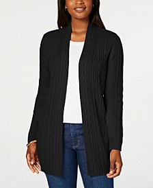 Plus Size Cable-Knit Open-Front Cardigan Sweater, Created for Macy's