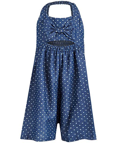 Bonnie Jean Little Girls Dot-Print Chambray Gaucho Romper