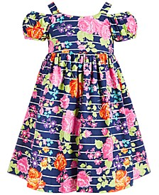 Little Girls Floral-Print Cold-Shoulder Dress