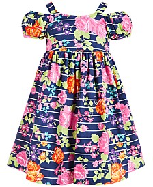 Bonnie Jean Little Girls Floral-Print Cold-Shoulder Dress