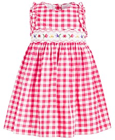 Toddler Girls Embroidered Gingham-Print Dress