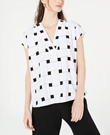 Alfani Printed V-Neck Top, Created for Macy's